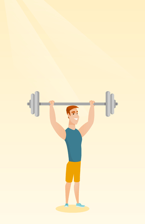 Caucasian sporty man lifting a heavy weight barbell. Young strong sportsman doing exercise with barbell. Weightlifter holding a barbell above his head. Vector flat design illustration. Vertical layout Illustration