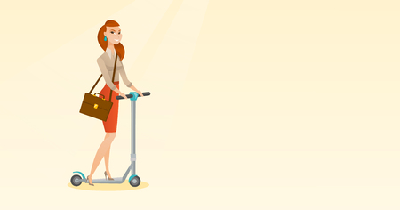business woman: Young caucasian business woman riding a kick scooter. Business woman with briefcase riding to work on kick scooter. Business woman on kick scooter. Vector flat design illustration. Horizontal layout.