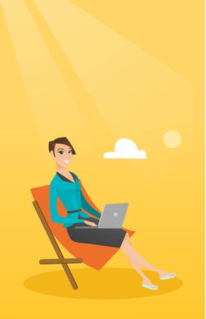 Caucasian business woman working on the beach. Young business woman sitting in chaise lounge on the beach. Business woman using laptop on the beach. Vector flat design illustration. Vertical layout. Illustration