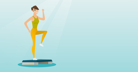Woman exercising on steeper vector illustration.