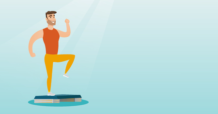 health and fitness: Man exercising on steeper vector illustration.