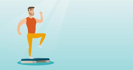 Man exercising on steeper vector illustration.
