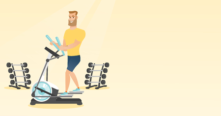Caucasian man exercising on elliptical trainer. Man working out using elliptical trainer in the gym. Man doing exercises on elliptical trainer. Vector flat design illustration. Horizontal layout. Illustration