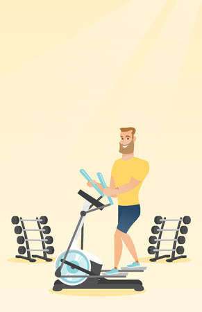 gym equipment: Caucasian hipster man exercising on elliptical trainer. Man working out using elliptical trainer in the gym. Man doing exercises on elliptical trainer. Vector flat design illustration. Vertical layout
