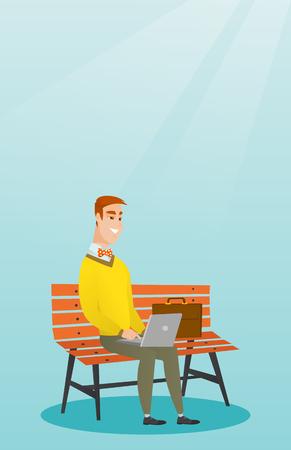 laptop outside: Businessman working on laptop outdoor. Illustration