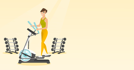 gym equipment: Caucasian woman exercising on elliptical trainer. Woman working out using elliptical trainer in the gym. Woman doing exercises on elliptical trainer. Vector flat design illustration. Horizontal layout