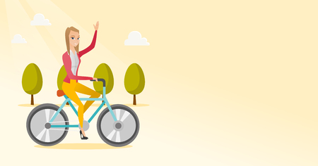Sportive woman riding a bicycle in the park. Cyclist riding bicycle and waving hand. Young woman on a bicycle outdoors. Healthy lifestyle concept. Vector flat design illustration. Horizontal layout. Stock Illustratie