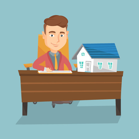 contract signing: Real estate agent signing contract. Illustration