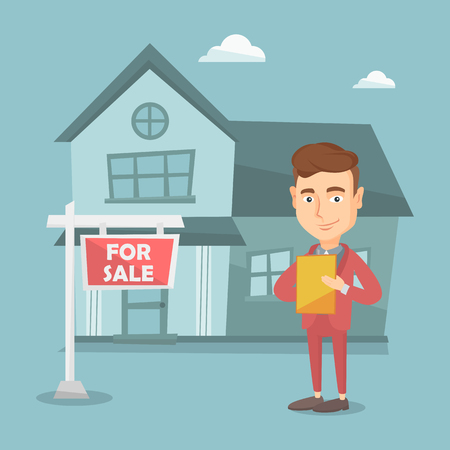 signing agent: Happy real estate agent signing home purchase contract. Real estate agent standing in front of the house with placard for sale.  selling a house. Vector flat design illustration. Square layout.