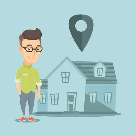 real estate house: person on background of house with map pointer. Illustration