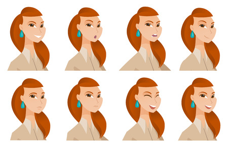 business woman: Caucasian female manager shouting. Portrait of young furious female manager shouting. Set of business women with different emotions. Vector flat design illustrations isolated on white background. Illustration