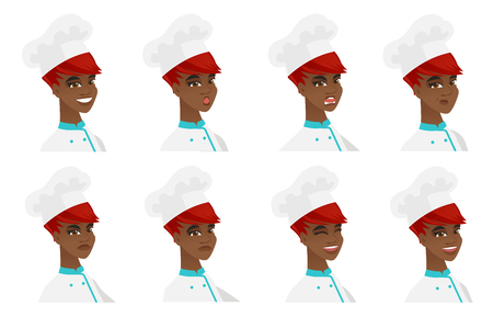 African chef-cooker with angry face expression. Portrait of young angry chef-cooker. Set of chef-cooker with different facial emotions. Vector flat design illustrations isolated on white background.