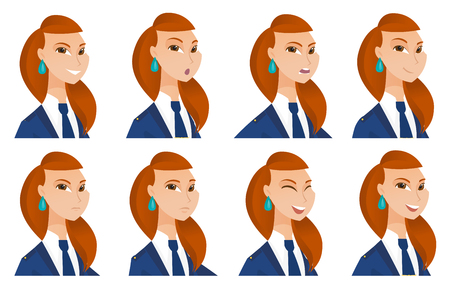 Young caucasian stewardess laughing. Stewardess laughing with closed eyes and open mouth. Set of stewardess with different emotions. Vector flat design illustrations isolated on white background. Illustration