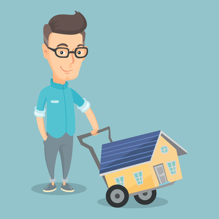 Adult smiling man buying house vector illustration Illustration