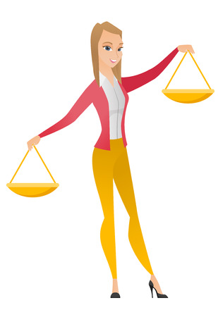 justice scale: Caucasian business woman holding balance scale. Business woman with a balance scale in hands trying to make a right decision in business. Vector flat design illustration isolated on white background.
