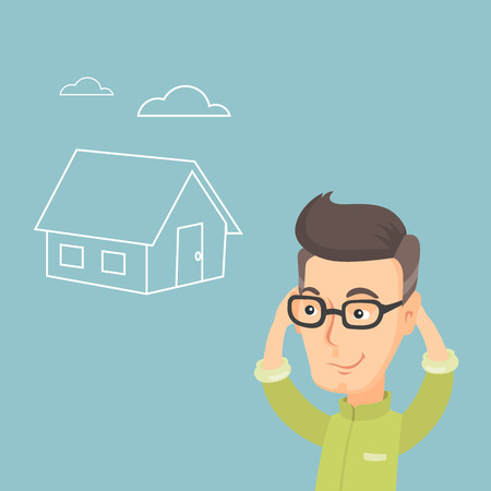condo: Caucasian man dreaming about future life in a new house. Smiling man planning his future purchase of a house. Man thinking about buying a new house. Vector flat design illustration. Square layout. Illustration