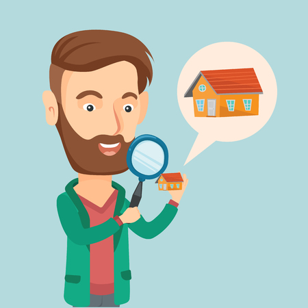 condo: Young caucasian man looking for a new house in real estate market. Man using a magnifying glass for seeking a new house. Man analyzing house with loupe. Vector flat design illustration. Square layout. Illustration