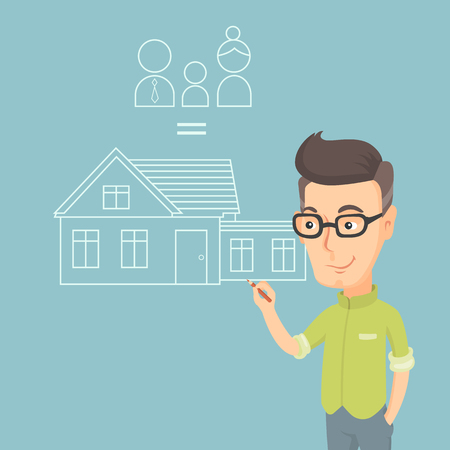 Caucasian man drawing family house. Man drawing house with family. Man dreaming about future life in a new family house. Man thinking about family house. Vector flat design illustration. Square layout