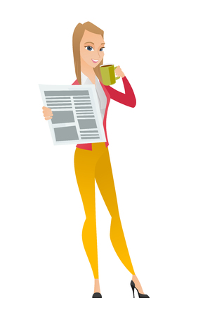 Caucasian smiling business woman holding cup of coffee and newspaper. Young business woman drinking coffee and reading news in newspaper. Vector flat design illustration isolated on white background.