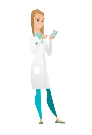 Happy doctor in uniform holding mobile phone and pointing at it. Full length of doctor with mobile phone. Doctor using mobile phone. Vector flat design illustration isolated on white background.