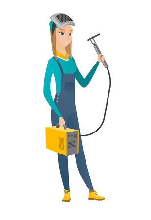Caucasian female welder wearing protective mask. Full length of young welder holding gas welding machine. Welder with welding equipment. Vector flat design illustration isolated on white background.