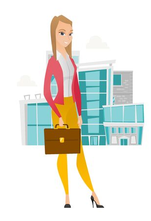 business woman: Caucasian business woman holding briefcase. Full length of young business woman with briefcase. Smiling business woman holding briefcase. Vector flat design illustration isolated on white background.