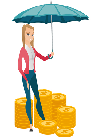 business woman: Caucasian business woman insurance agent. Insurance agent holding umbrella over coins. Business insurance and business protection concept. Vector flat design illustration isolated on white background. Illustration