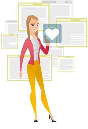 confirm: Young caucasian business woman pressing web button with heart. Full length of smiling business woman pressing social media icon with heart. Vector flat design illustration isolated on white background