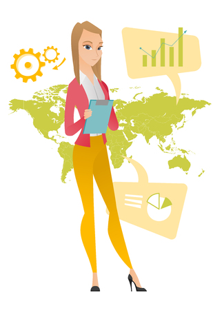 business woman: Business woman taking part in global business. Businesswoman standing on the background of map. Global business and globalization concept. Vector flat design illustration isolated on white background.