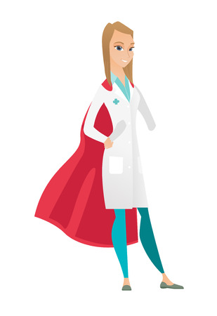 Young caucasian doctor wearing a red superhero cloak. Full length of doctor dressed as superhero. Successful doctor superhero in red cloak. Vector flat design illustration isolated on white background Illustration