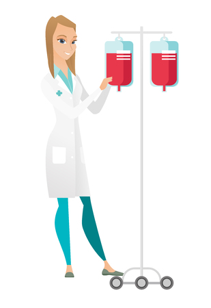Caucasian professional doctor preparing drop counter. Full length of young doctor standing near drop counter. Doctor with drop counter. Vector flat design illustration isolated on white background.
