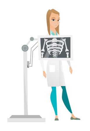 Young caucasian roentgenologist doctor during chest x ray procedure. Female roentgenologist doctor with x ray screen showing her skeleton. Vector flat design illustration isolated on white background.