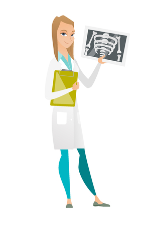 Caucasian doctor examining a radiograph. Young doctor in medical gown looking at chest radiograph. Doctor observing a skeleton radiograph. Vector flat design illustration isolated on white background.