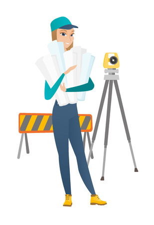 building site: Engineer standing with blueprint at construction site. Engineer holding twisted blueprint on the background of road barrier and theodolite. Vector flat design illustration isolated on white background