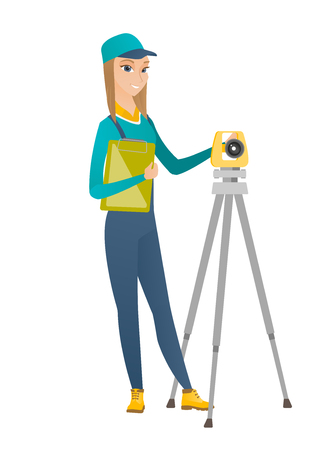Caucasian surveyor builder holding clippboard and working with theodolite. Surveyor builder standing near theodolite transit equipment. Vector flat design illustration isolated on white background. Illustration