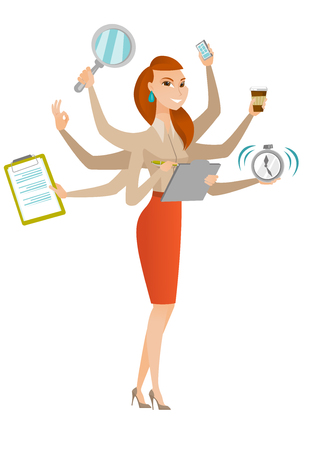 Young business woman with many legs and hands coping with multitasking. Business woman doing multiple tasks. Multitasking business person. Vector flat design illustration isolated on white background. Illustration