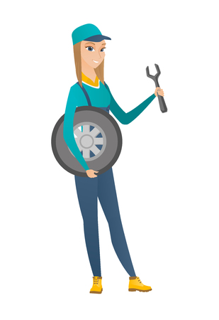 business woman: Young caucasian auto mechanic in uniform holding spanner and wheel. Full length of female smiling auto mechanic with tyre and spanner. Vector flat design illustration isolated on white background. Illustration