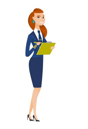 business woman: Caucasian stewardess writing notes in list of passengers. Stewardess checking list of passengers. Stewardess holding list of passengers. Vector flat design illustration isolated on white background.