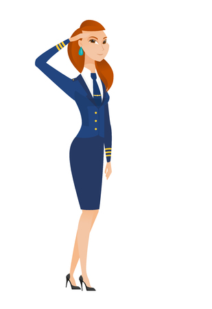 Caucasian stewardess in uniform gives salute. Full length portrait of young stewardess saluting. Stewardess with serious face saluting. Vector flat design illustration isolated on white background. Illustration