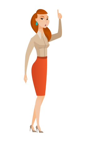 came: Caucasian business woman with open mouth pointing finger up. Full length of young businesswoman with open mouth came up with business idea. Vector flat design illustration isolated on white background