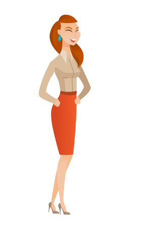 Caucasian business woman laughing. Full length of bsiness woman laughing with hands on stomach. Business woman laughing with closed eyes. Vector flat design illustration isolated on white background.