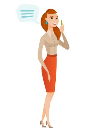 Mulher de negócios caucasiano com bolha de discurso. Jovem mulher de negócios dando um discurso. Mulher de negócios com bolha de discurso que sai da cabeça. Ilustração plana do projeto do vetor isolada no fundo branco.