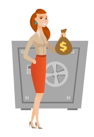 Caucasian business woman showing money bag on the background of safe. Business woman with money bag. Business woman holding money bag. Vector flat design illustration isolated on white background. Illustration