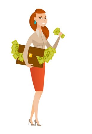 business woman: Business woman standing with briefcase full of money and committing economic crime. Business woman stealing money. Economic crime concept. Vector flat design illustration isolated on white background.