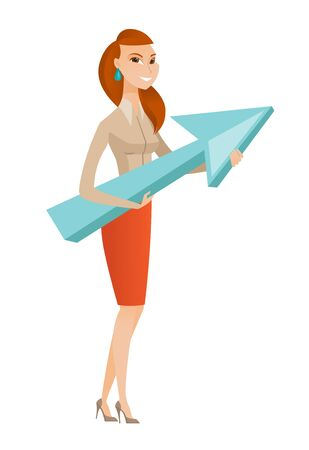 business woman: Caucasian business woman holding arrow representing business growth. Young business woman with growth graph. Concept of business growth. Vector flat design illustration isolated on white background.