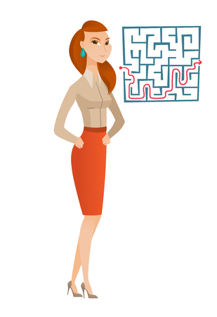 business woman: Caucasian business woman thinking about business solution. Business woman looking at labyrinth with solution. Business solution concept. Vector flat design illustration isolated on white background.