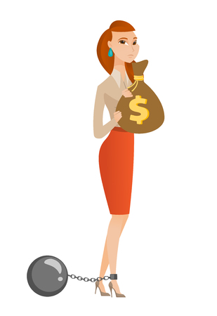 taxpayer: Caucasian business woman taxpayer holding bag with dollar sign. Captive taxpayer holding bag with taxes. Concept of tax time and taxpayer. Vector flat design illustration isolated on white background. Illustration