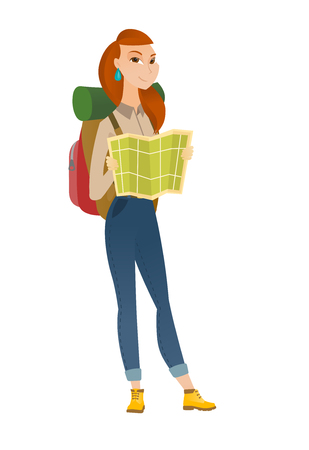 Young caucasian traveler exploring the map. Woman traveler with backpack looking at map. Woman traveler searching right direction on map. Vector flat design illustration isolated on white background.