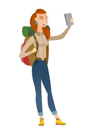 woman cellphone: Caucasian traveler woman making selfie. Traveler woman with backpack taking selfie with cellphone. Traveler taking selfie during trip. Vector flat design illustration isolated on white background. Illustration
