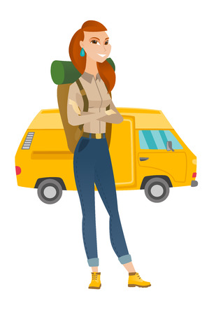 Young caucasian traveler with backpack standing with folded arms on the background of minibus. Happy traveler going to vacation by minibus. Vector flat design illustration isolated on white background